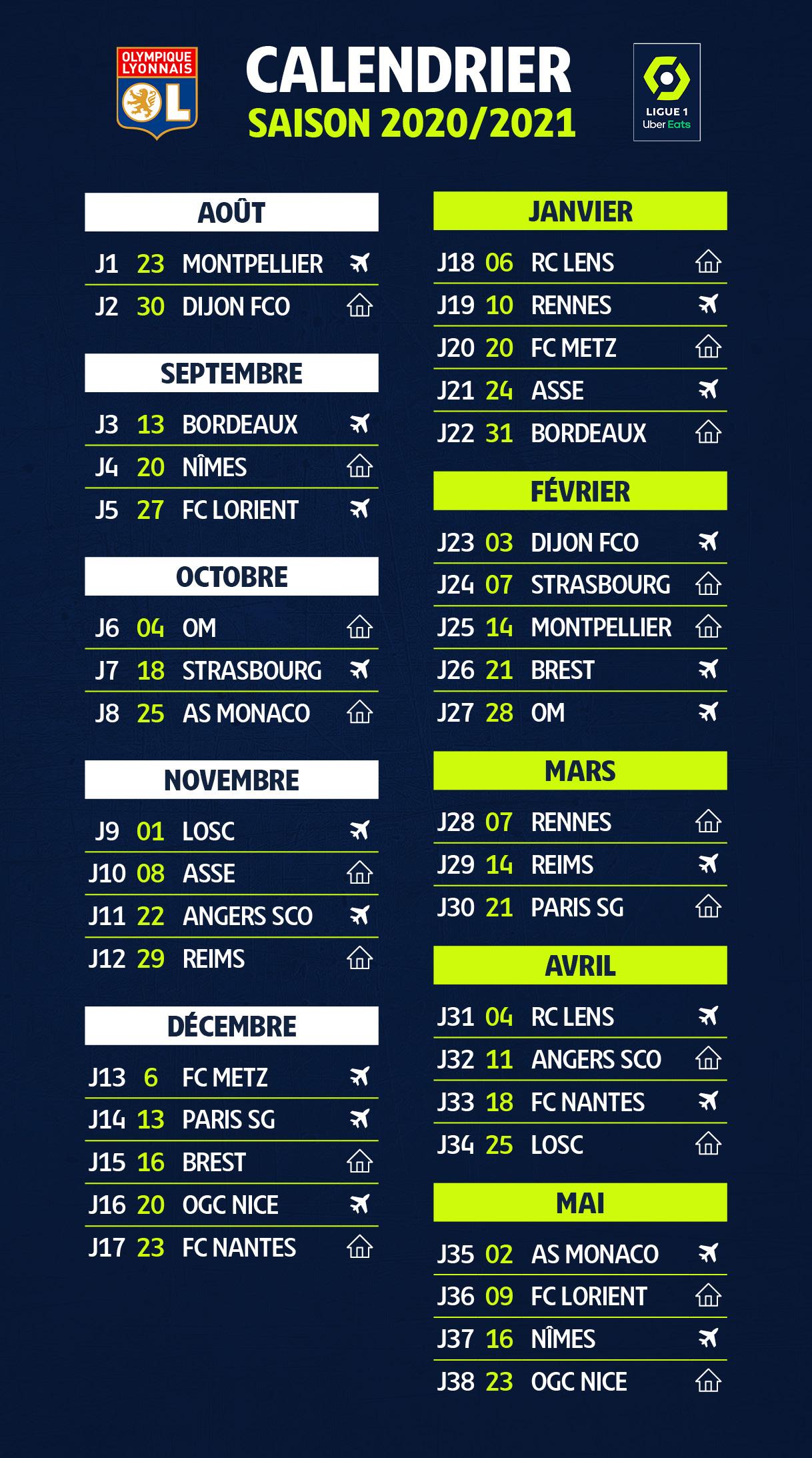 PSG, OM, OL : le calendrier 2020-2021 des 20 clubs de Ligue 1