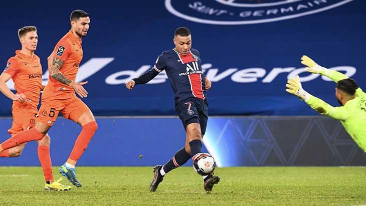 Mbappe pique PSG Montpellier